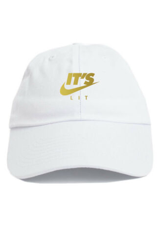 It/'s Lit Swoosh Custom Unstructured Dad Hat Adjustable Cap New-White w// Gold