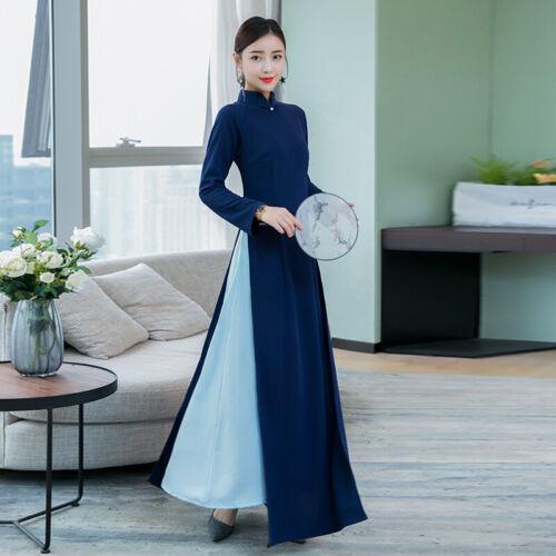 Vintage Chinese Women Qipao Cheongsam Dress 2 Layers Printed Casual Long