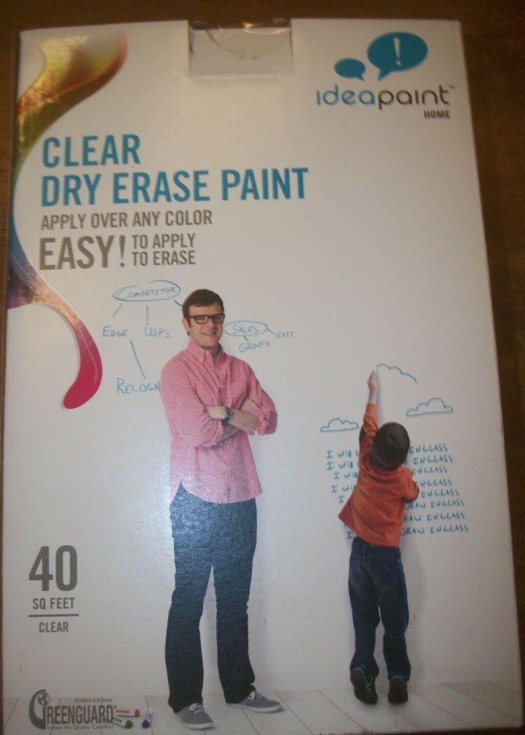 Ideapaint Clear Dry Erase Paint 40 sq ft - Apply over any color