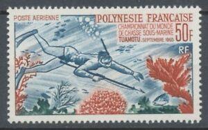 TIMBRE-COLONIE-POLYNESIE-PA-N-14-50f-Chasse-ss-Marine-Neuf-TB-P4800