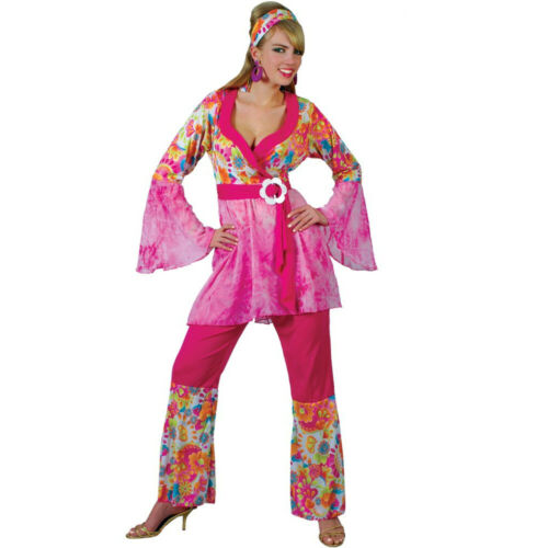 70S HIPPY CHICK COSTUME ADULT WOMENS GROOVY 60S FANCY DRESS OUTFIT FLARED HIPPIE
