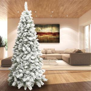 Albero-di-Natale-Innevato-210-Super-Folto-Pino-Slim-Bianco-Salvaspazio-S-Moritz