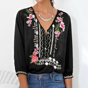 Women-Long-Sleeve-Floral-Print-Boho-Top-Vintage-Loose-Oversized-T-Shirt-Blouse