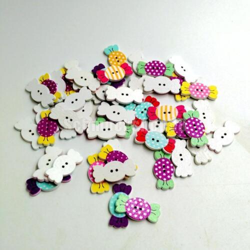 50 Stück Random Schöne Candy Holzknöpfe Malerei Nähen Knöpfe Handwerk