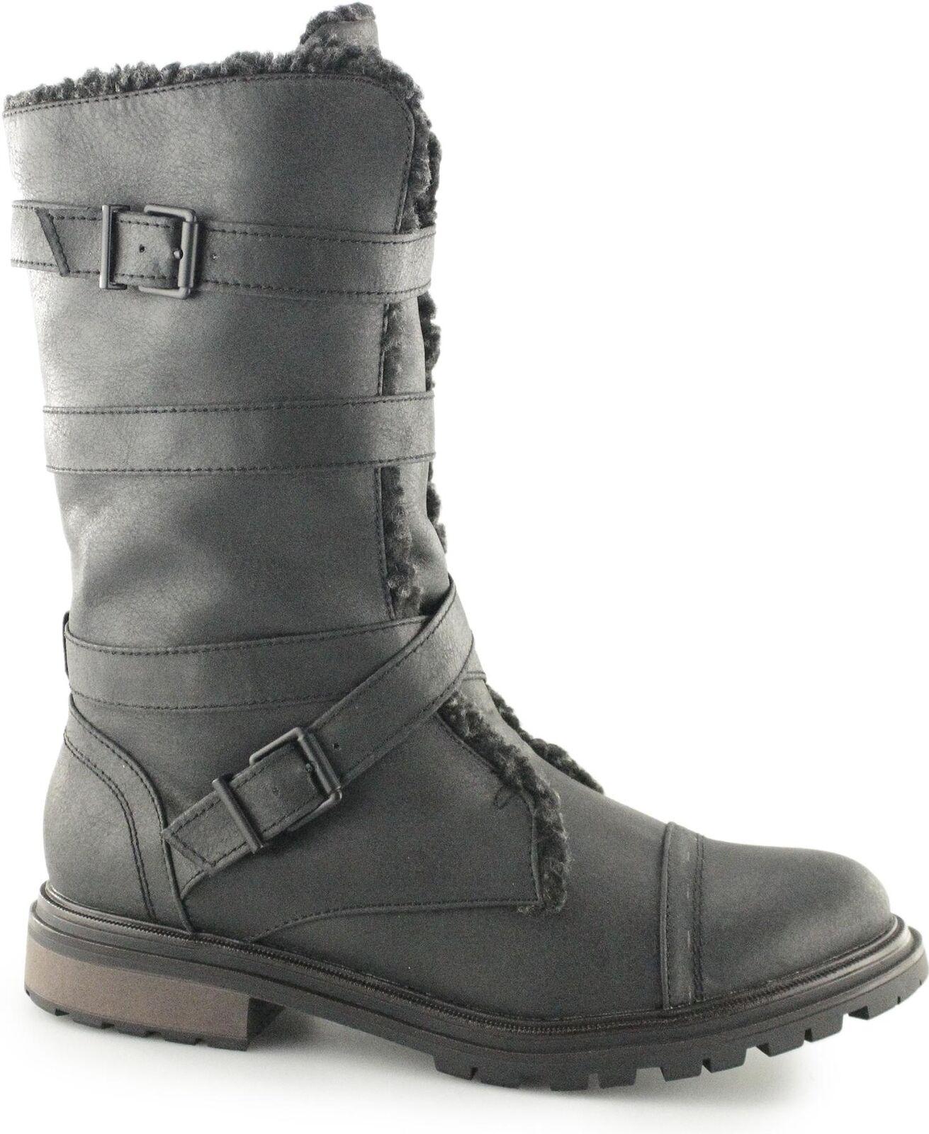Rocket Dog LANCE Ladies Womens Zip Buckle Up Casual Warm Lined Biker Boots Black