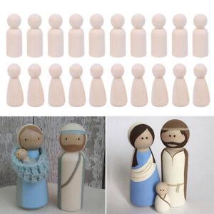 10 Pcs Unfinished Wood Peg Dolls Wooden Figures Mini People Diy