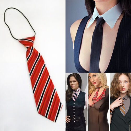 Sexy Naughty School Girl Mini Neck Ties Stretchy Striped Patterned Accessory OS