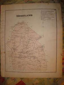 1873-MORELAND-TOWNSHIP-MAP-PENNSYLVANIA-ANTIQUE-HANDCOLORED-MAP-SUPERB-RARE-NR