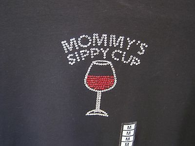 """Las Olas Knit T-Shirt Size Medium NWT """"Mommy's Sippy Cup"""" Wineglass Sparkly"""