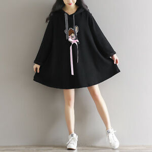 Kawaii-Deer-Embroidery-Loose-Pullover-Hooded-Sweatshirts-Dress-Preppy-Style