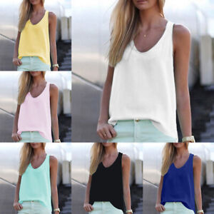 6aea7786f541a Details about Summer Sexy Sleeveless Chiffon Vest V-neck Loos Shirts Tops  Women Clothing