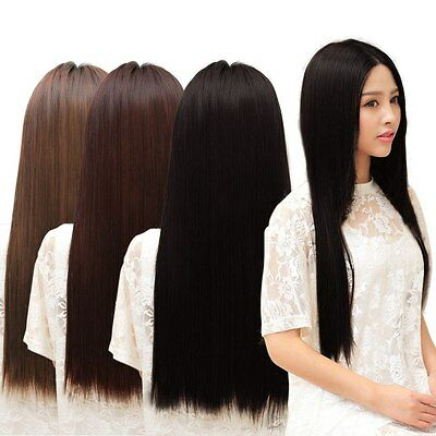 Long Straight Hair Extension One piece 5 Clips-in 3/4 Full Head Woman Party