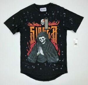 Reason-Mens-Graphic-T-Shirt-Skull-Fire-Studded-Black-Variety-Sizes