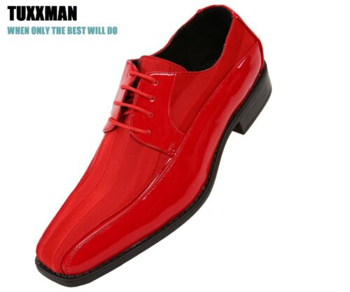 New Men/'s Red Black Patent Striped Oxford Shoes Lace Up/'s TUXXMAN Formal