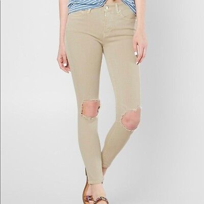 NWT Free People High-Rise Busted Knee Ripped Skinny Jeans Stretch Khaki 24 26 30