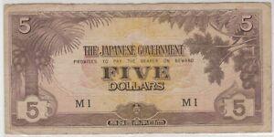 Mazuma *M1353 Malaya Japanese WWII JIM 1942 $5 MI VF