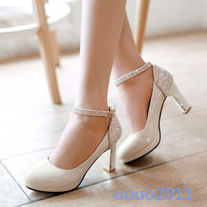 Superb Image Is Loading Mary Janes Womens Block Heel Patent Leather Sequin