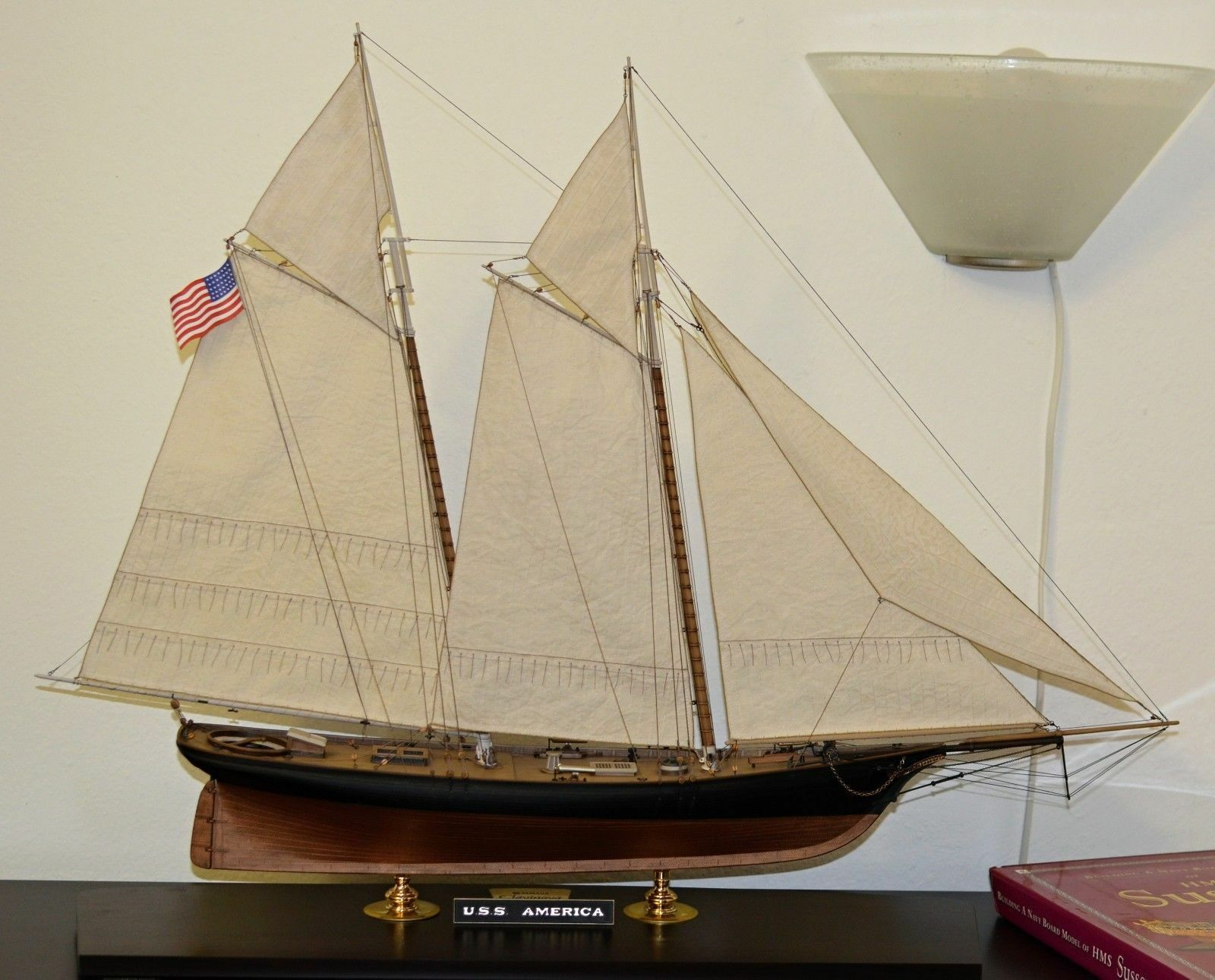 Revell yacht USS America - set of sails for model, 1 56, sewed on CNC mach.