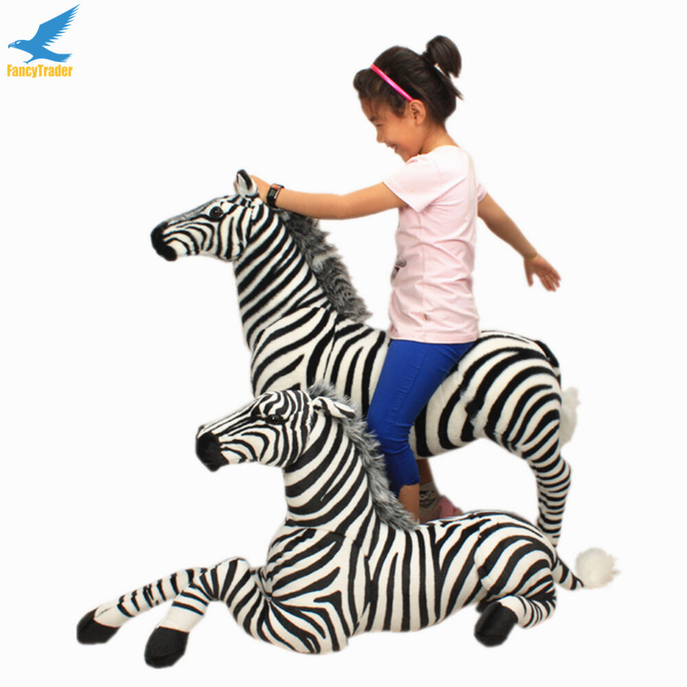 Big 43''Simulated Zebra Plush leksak Cute Stuffing Ridable Horse Beundable leksak 110CM
