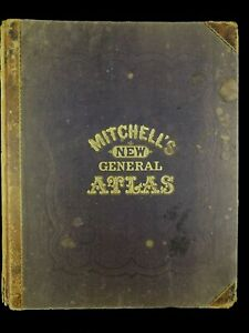 1868-Mitchell-039-s-New-General-Atlas-100-Maps-amp-Plans-Complete-amp-Original-NEAR-FINE