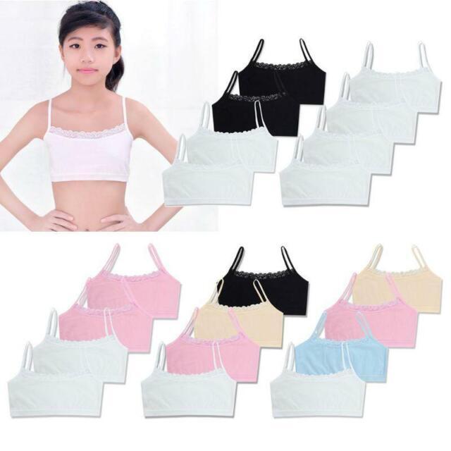 Kids Girls Training Bras Teenage Cotton Breathable Sports Underwear Solid Casual