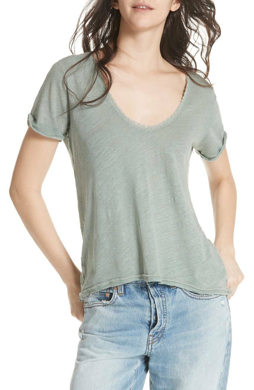 Free People Saturday Lace Trim Linen Blend Tee $58 Size S # 6A 598 NEW