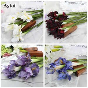6wedding Artificial Flowers Real Touch Iris Silk Fake Flowers Plant