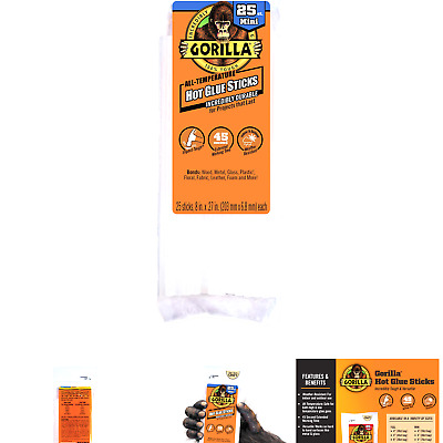 """30 Count Clear Gorilla Hot Glue Sticks 4/"""" Long x .27/"""" Diameter Mini Size"""