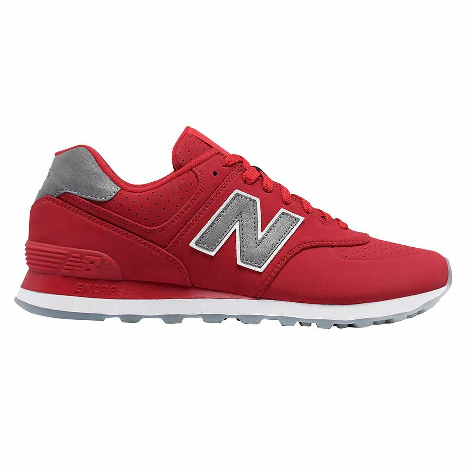 New Balance 574 Classic Traditionnels Grey Red Men's Low Top Trainers