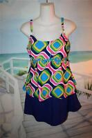 16w Babydoll Tankini Swim Shorts Bathing Suit Trendy Colorful Bubbles Color 16