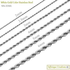 White-Gold-Color-Stainless-Steel-Rope-Chain-Necklace-2mm-to-8mm