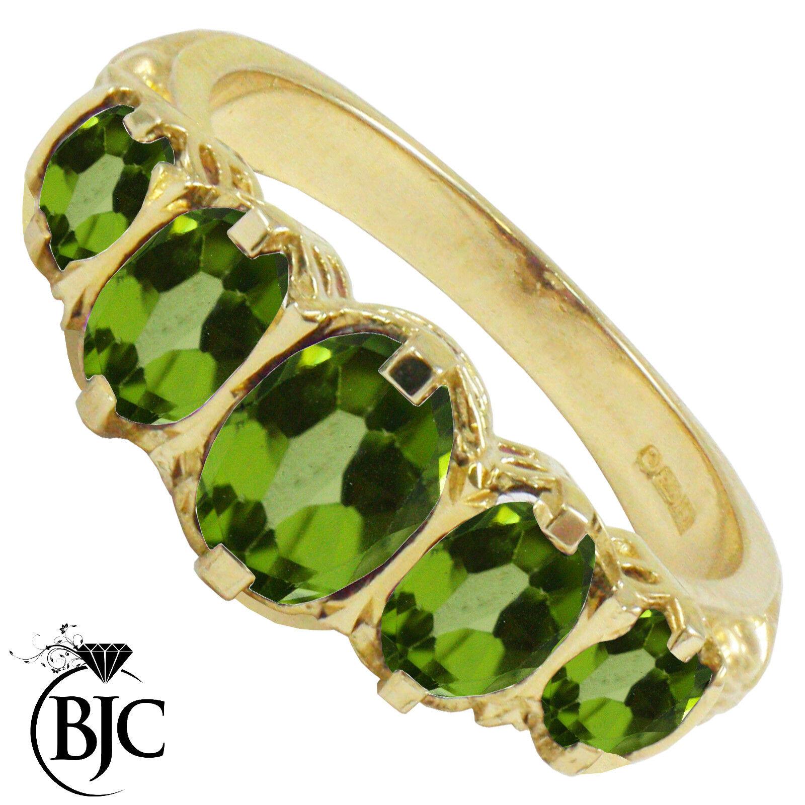 BJC 9ct gold yellow VITTORIANO Gitano stile LAUREA PERIDOTO 5 PIETRA anello