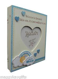 Girl Boy Rainbow Baby Keepsake Photo Album Pink Enchante Wood Blue