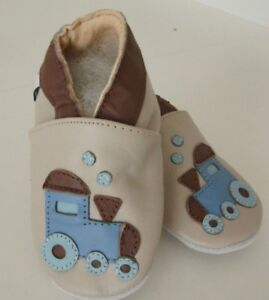 Baby Puschen Auto Hausschuhe Leder Größe 6-12 Monate aus Echtleder NEU M