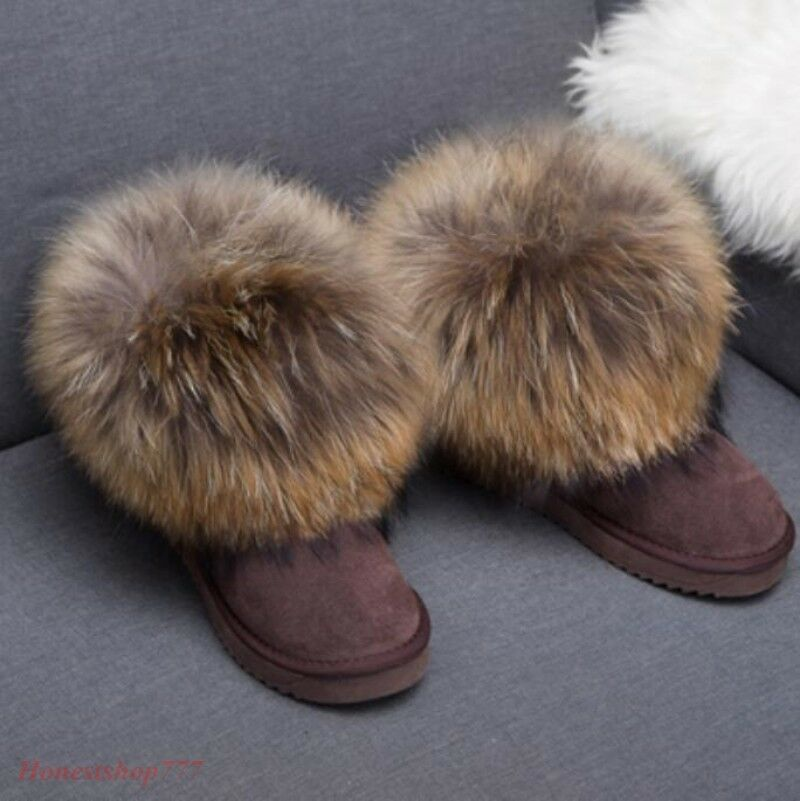 Women Real Warm Fox Fur shoes Ankle Boots Pull On On On Winter Flat Leather Snow Boots 837438
