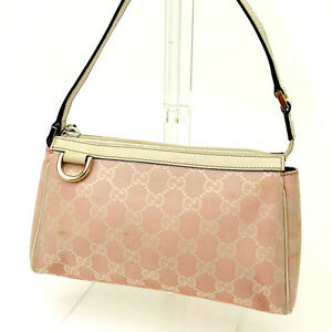 Gucci-Pouch-Bag-GG-Pink-White-Woman-Authentic-Used-Y962