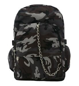 GREY-CAMO-camouflage-Army-Backpack-Rucksack-School-College-Goth-Rock-Punk-Bag