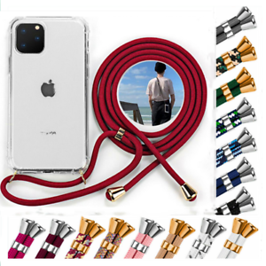 For iPhone 12 Mini / 11/12 Pro Max X XS Neck Lanyard Cord Strap Clear Case Cover