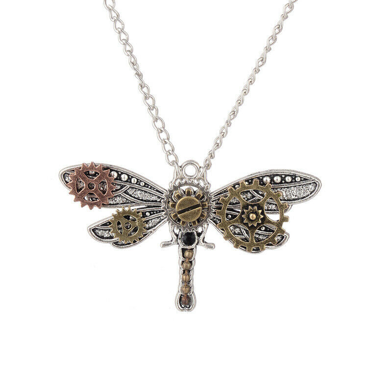 Unisex Novel Exquisite Gear Dragonfly Metal Steampunk Pendant Necklace Gift Prop