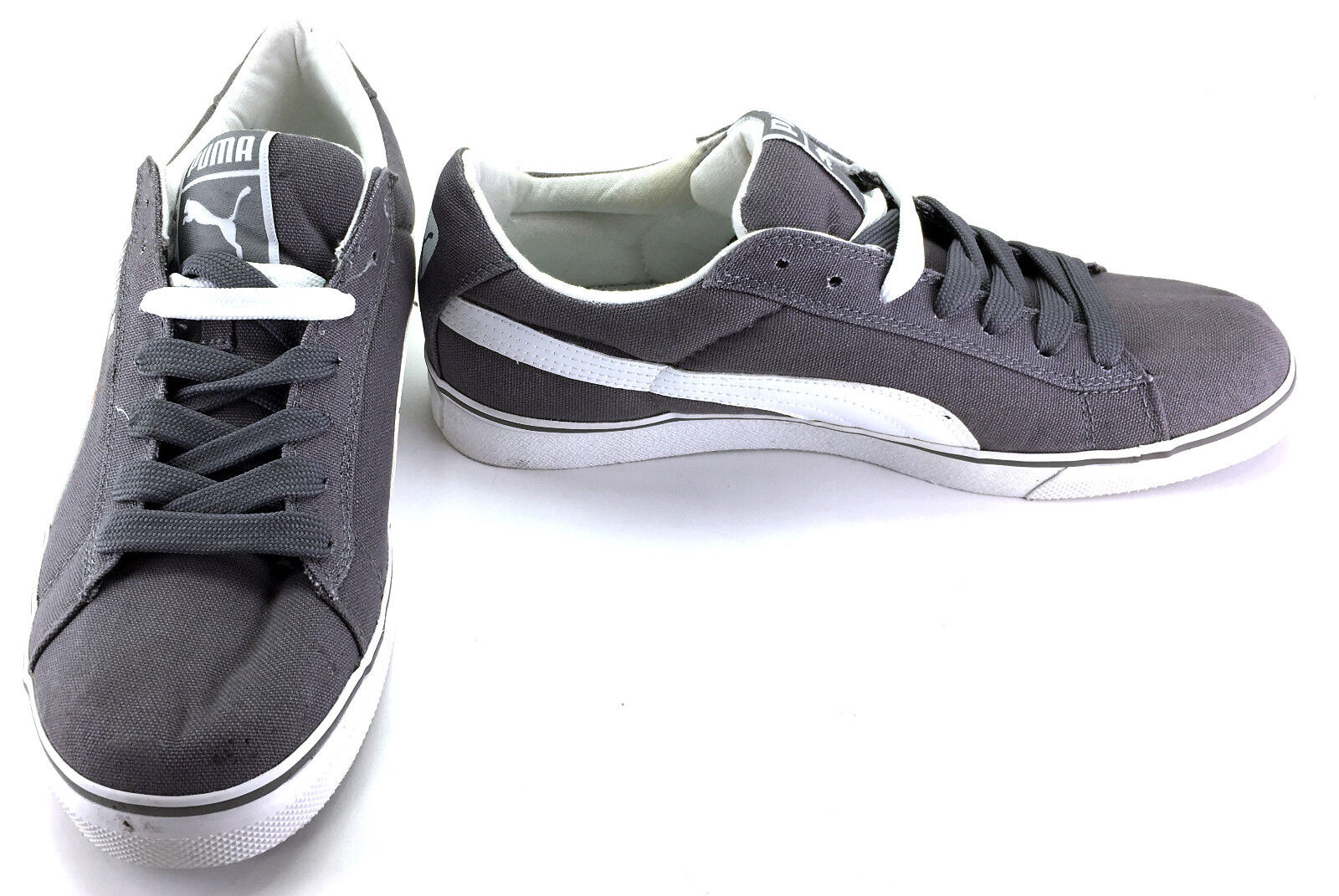 Puma Shoes Classic Vulcanized Canvas Lo Gray/White Sneakers Comfortable Brand discount