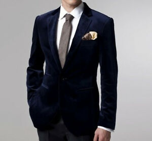 Wedding Blazer Designs | Men Navy Blue Velvet Coat Jacket Blazer Designer Grooms Wedding