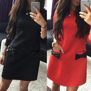 Fashion-Women-039-s-Sexy-Loose-Bowknot-Pocket-Long-Sleeve-O-neck-Mini-Party-LJ
