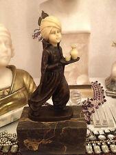 Sarotti Mohr Bronze Skulptur Figur Marmorsockel im Art Deco Jugendstil