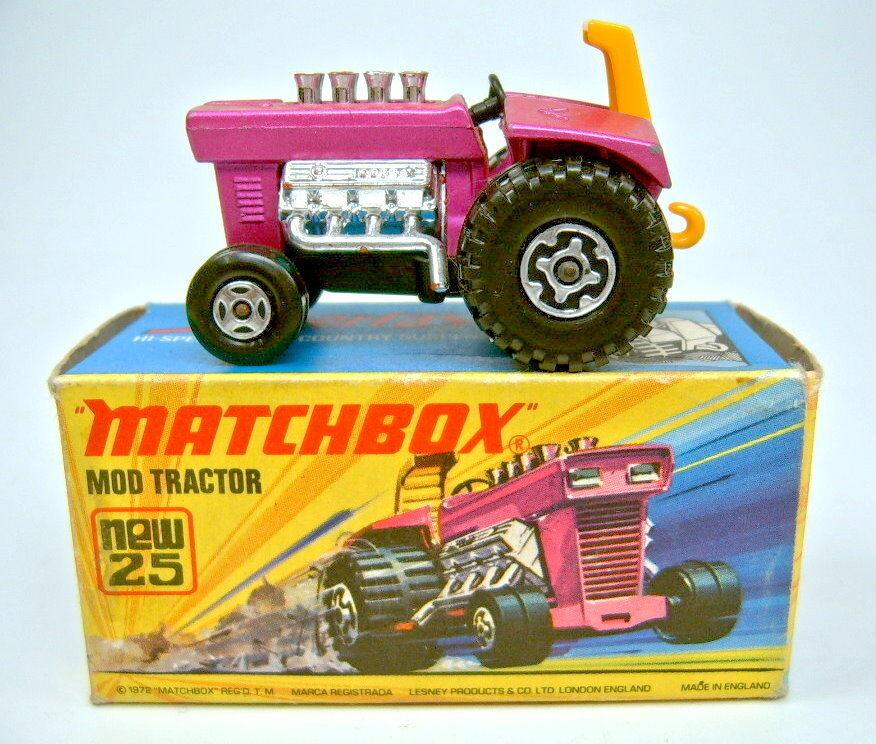 Matchbox Superfast Nr.25B Mod Mod Mod Tractor dünne 4 spoke Frontwheels in Box c5b4b4