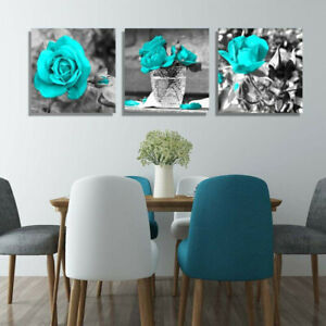 Cyan-Rose-Flower-Wall-Art-Painting-Pictures-Posters-Living-Bedroom-Home-Decor