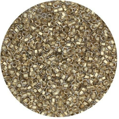 Czech Glass Seed Beads Size 11//0 Lined Gold Crystal