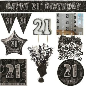 Black-Glitz-21st-Birthday-Party-Supplies-Decorations-Confetti-Strings-Napkins