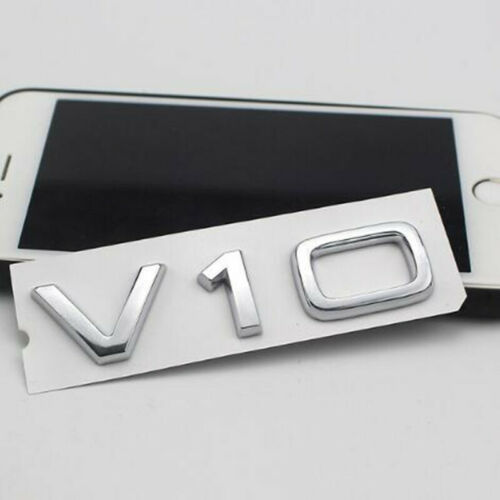 Car Chrome Silver Emblem V10 Letter Badge for Audi