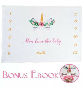Baby Girl Pink Milestone Baby Blanket Fleece 60x40 Unicorn Baby Shower Growth