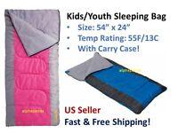 Cabela's Youth Kids Girls Boys Sleeping Bag Carry Case Camping Hiking 55 Degrees